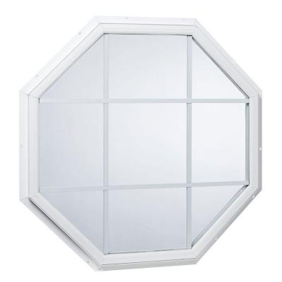 31.5 in. x 31.5 in. Fixed Octagon Geometric Vinyl Window with Grid White Product Photo