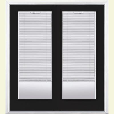 Masonite 60 in. x 80 in. Primed White Prehung Left-Hand Inswing Mini Blind Steel Patio Door with Brickmold in Vinyl Frame