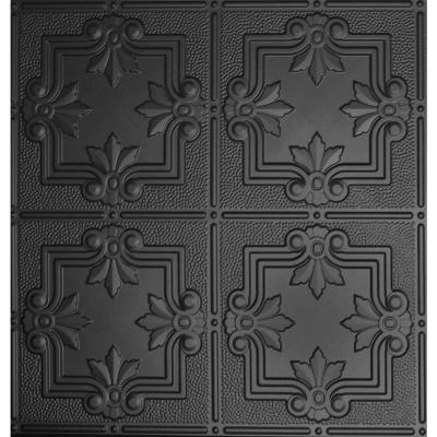 Global Specialty Products Dimensions 2 ft  x 2 ft  Matte Black Tin Ceiling  Tile for Refacing in T Grid Systems 321 16   The Home Depot. Global Specialty Products Dimensions 2 ft  x 2 ft  Matte Black Tin