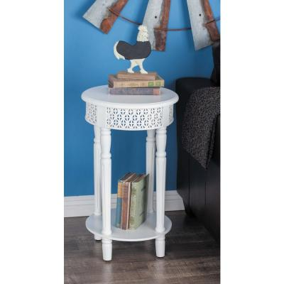 AMERICAN HOME Vintage Round White Side Table with Decorative Panels