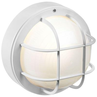 8 in. White Outdoor Incandescent Round Nautical Flushmount with Grille Product Photo
