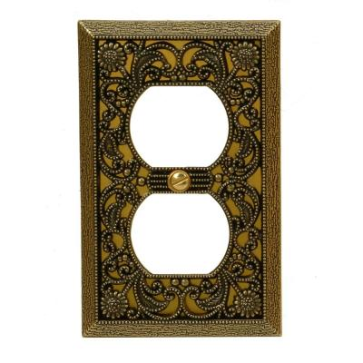 Filigree 1 Duplex Wall Plate - Antique Brass Product Photo