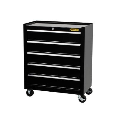 24 in. W 5-Drawer Tool Cabinet, Black