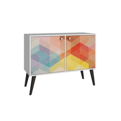 Avesta 2.0 Funky 3-Shelf White with a Colorful Stamp Door and Grey Feet Melamine MDP Side Table Product Photo