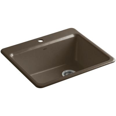 Riverby Top Mount Cast-Iron 25 in. 1-Hole Single Bowl Kitchen Sink