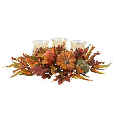Nearly Natural 30 in. Harvest Triple Candelabrum and Artificial Foliage Table Arrangement