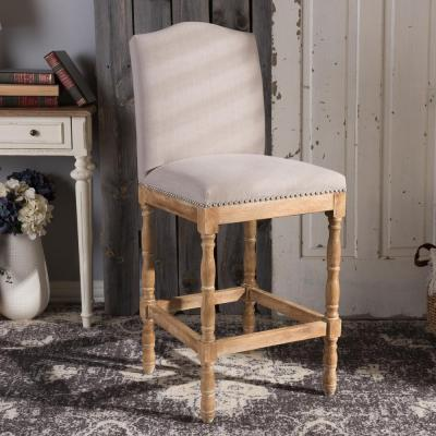 Baxton Studio Paige Beige Fabric Upholstered Bar Stool