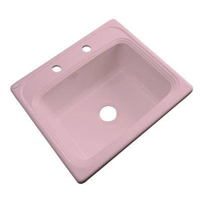 Thermocast Wellington Drop-In Acrylic 25 in. 2-Hole Single Bowl Kitchen Sink in Dusty Rose