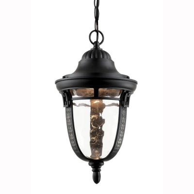 Bel Air Lighting 1-Light Outdoor Hanging Oiled Bronze Lantern with Water Glass