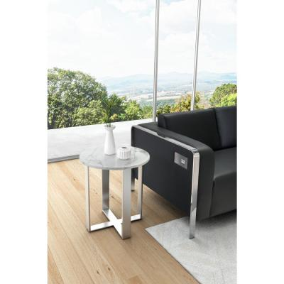 ZUO Atlas Stone and Stainless End Table