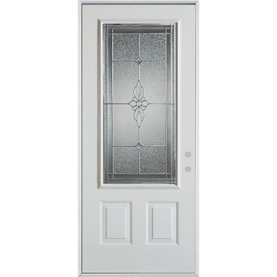 36 in. x 80 in. Victoria Classic Zinc 3/4 Lite 2-Panel Prefinished White Steel Prehung Front Door Product Photo