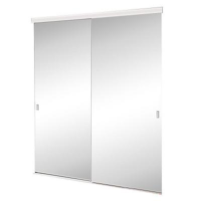 60 in. x 80 in. Brittany Steel White Mirrored Sliding Door Product Photo