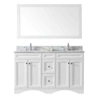 Virtu USA Talisa 60 in. W x 22 in. D Double Vanity in White Finish with Marble Vanity Top in White with White Basin and Faucet
