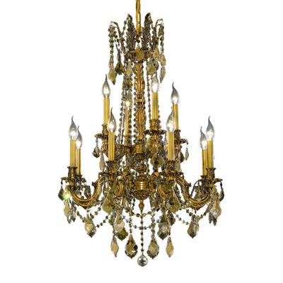 12-Light French Gold Chandelier with Golden Teak Smoky Crystal