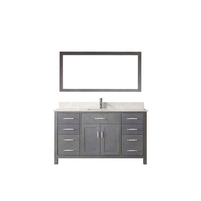 Studio Bathe Kalize 60 in. Vanity in French Gray with Solid Surface Marble Vanity Top in Carrara White and Mirror