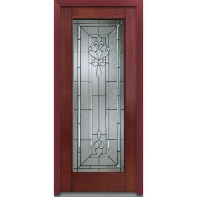 36 in. x 80 in. Fontainebleau Decorative Glass Full Lite Finished Mahogany Fiberglass Prehung Front Door Product Photo
