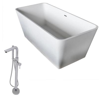ANZZI Cenere 4.9 ft. Man-Made Stone Classic Flatbottom Non-Whirlpool Bathtub in Matte White and Sens Faucet in Chrome