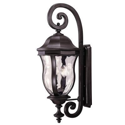 Illumine 4-Light Black Wall Mount Lantern with Clear Watered Glass