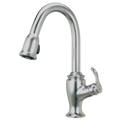 Artisan Premium Single-Handle Pull-Out Sprayer Kitchen Faucet in Satin Nickel