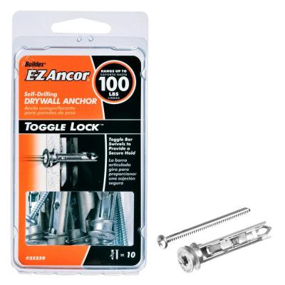 E-Z Ancor Toggle Lock 100 lb. Pan Head Philips Heavy Duty Self Drilling Drywall Anchors with Screws (10-Pack)