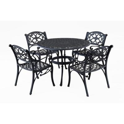 Home Styles Biscayne 42 in. Black 5-Piece Round Patio Dining Set