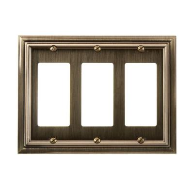 Amerelle Continental 3 Decora Wall Plate - Brushed Brass