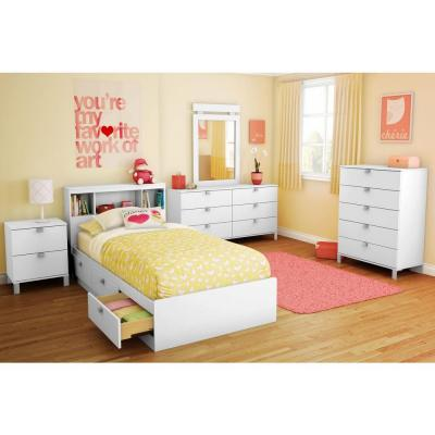 South Shore Spark 3-Drawer Twin-Size Storage Bed in Pure White