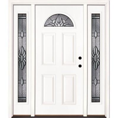 Feather River Doors 67.5 in. x 81.625 in. Sapphire Patina Fan Lite Unfinished Smooth Fiberglass Prehung Front Door with Sidelites