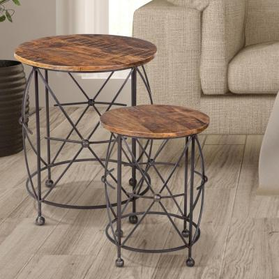 Yosemite Home Decor Natural Wood Nesting End Table