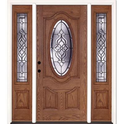 67.5 in. x 81.625 in. Lakewood Patina 3/4 Oval Lite Stained Medium Oak Fiberglass Prehung Front Door with Sidelites Product Photo