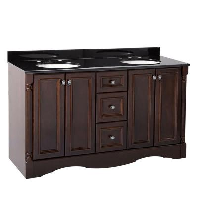 Valencia 61 in. Vanity in Chestnut with Color Point Vanity Top