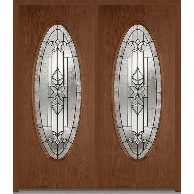 64 in. x 80 in. Cadence Decorative Glass Full Oval Lite Finished Oak Fiberglass Double Prehung Front Door Product Photo