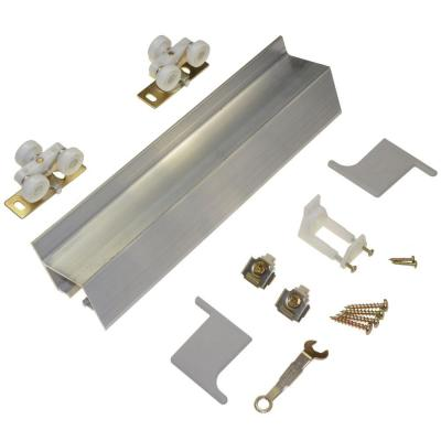 Johnson hardware 2610f series 60 in track and hardware set for wall mount sliding doors - Barn door track hardware home depot ...