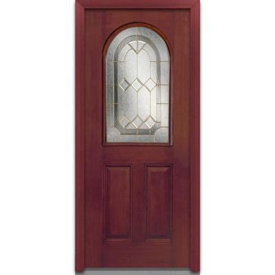 32 in. x 80 in. Majestic Elegance Deco Glass Round Top 1/2 Lite 2-Panel Finished Mahogany Fiberglass Prehung Front Door Product Photo