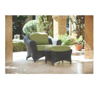 Martha Stewart Living Lake Adela Charcoal 2-Piece Patio Lounge Chair and Ottoman Set with Cilantro Cushions