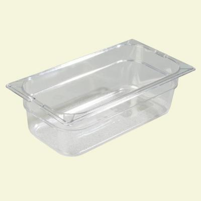 1/3 Size, 3.80 qt., 4 in. D Polycarbonate Food Pan in Clear, Lid not Included (Case of 6) Product Photo