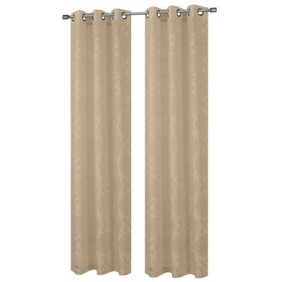Diamante Cotton Blend Burnout Sheer Taupe Grommet Curtain Panel, 38 in. W x 84 in. L Product Photo