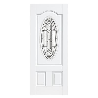 Chatham Three Quarter Oval Lite Primed Steel Prehung Front Door with No Brickmold