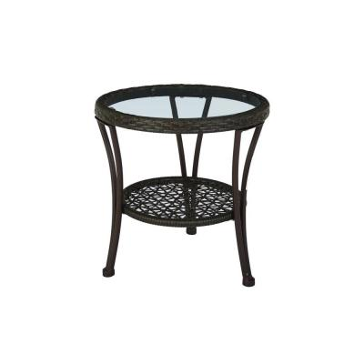 Hampton Bay Arthur All Weather Wicker Patio Side Table Hd16402 The Home Depot