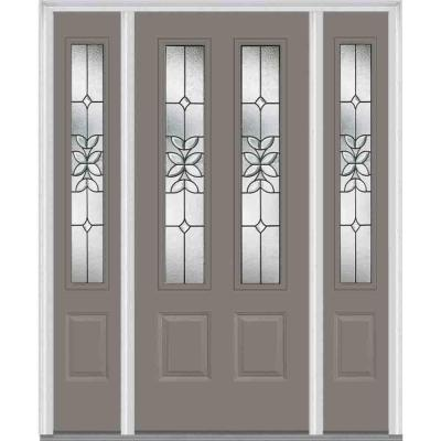 60 in. x 80 in. Cadence Decorative Glass 2 Lite Painted Majestic Steel Prehung Front Door with Sidelites Product Photo