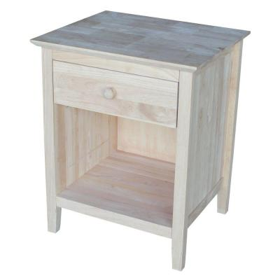 International Concepts Brooklyn 1-Drawer Unfinished Wood Nightstand