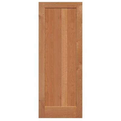 36 in. x 84 in. Knotty Alder 1 Panel Shaker Flat Solid Wood Interior Barn Door Slab Product Photo