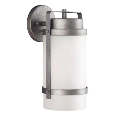 Sea Gull Lighting Bucktown 1-Light Outdoor Weathered Pewter Fluorescent Wall Lantern with Satin Etched Glass