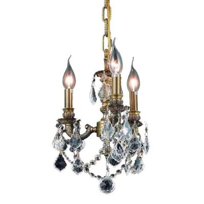 3-Light Antique Bronze Chandelier with Clear Crystal