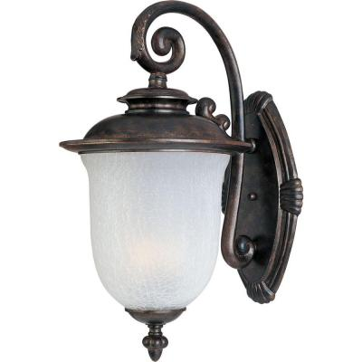 Illumine 2-Light Outdoor Chocolate Wall Lantern with Frost Crackle Glass Shade