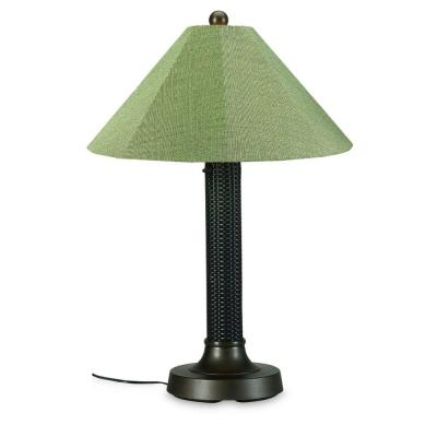 Patio Living Concepts Bahama Weave 34 in. Dark Mahogany Outdoor Table Lamp with Basil Linen Shade