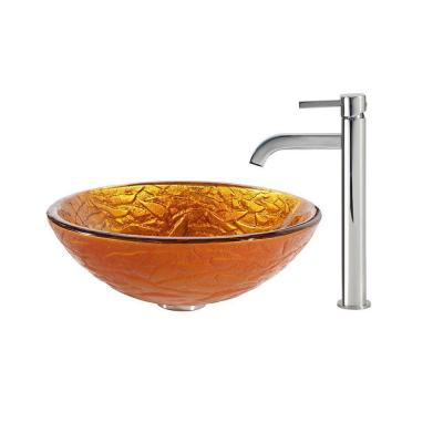 Blaze Glass Vessel Sink in Gold with Ramus Faucet in Chrome