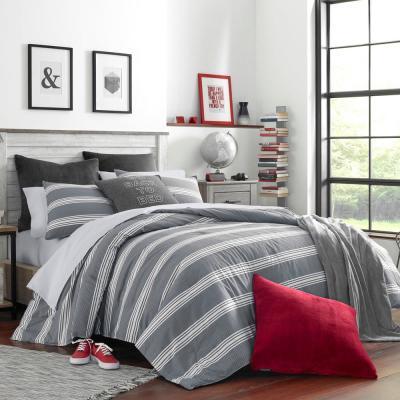 Craver Gray Striped Cotton Comforter Set