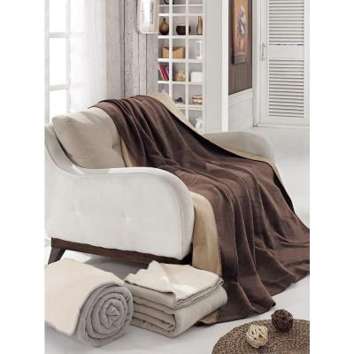 70 in. W x 90 in. L Dark Brown and Tan