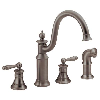 Waterhill High-Arc 2-Handle Standard Kitchen Faucet with Side Sprayer in